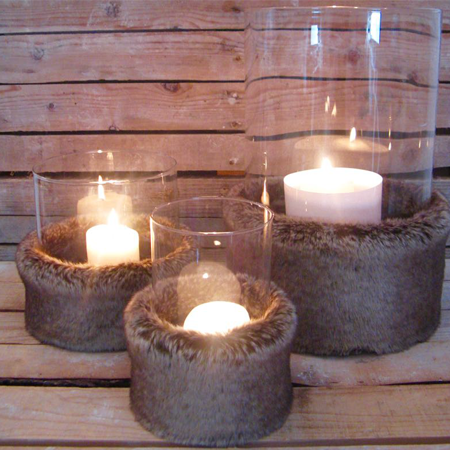Porta candele in vetro ed ecopelliccia alaska for Porta candela