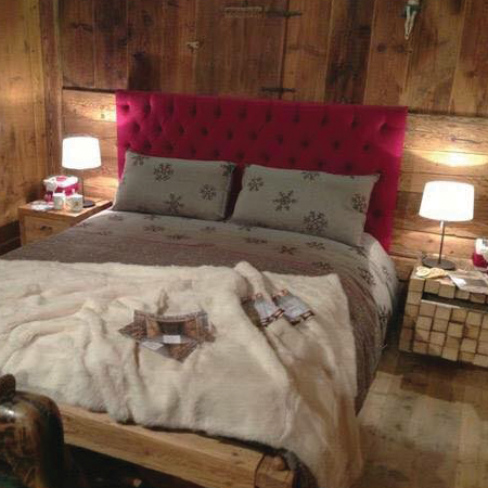 Letto montagna letto cortina testiera in loden rosso capiton - Camere da letto di montagna ...