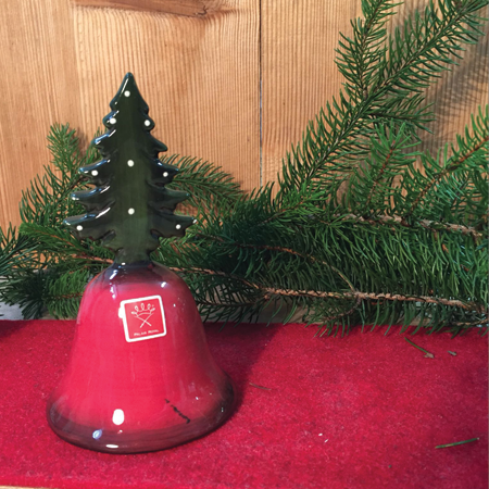 Natale 2017 - campanelle di natale rosse con decoro pino e ...