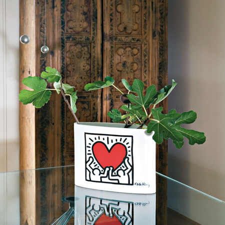 Copripiumino Keith Haring.Vasi Creativando Men With Heart Designer Keith Haring
