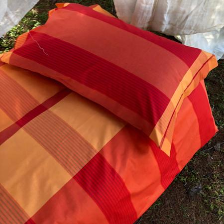 Copripiumino Matrimoniale Arancione.Completo Copripiumino Bossi Cortina 5682 Scozzese Arancione